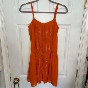 Joie 100% Silk Coral Orange Tank Mini Dress XS